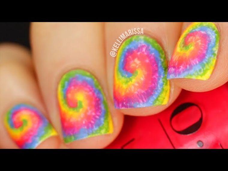 Easy Rainbow Tie Dye Nail Art Design Tutorial Pride Manicure